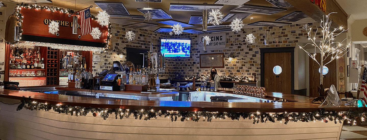 the Windlass bar decorated for the holidays