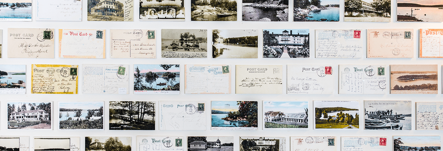 Postcards on the wall at The Windlass Restaurant