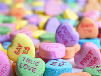 A pile of conversation hearts.